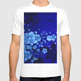 Cherry blossom, blue colors T-shirt