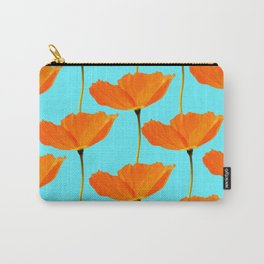 Poppies On A Turquoise Background #decor #society6 #buyart Carry-All Pouch