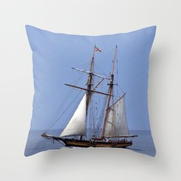 Tall ship Sailing the mighty Saint-Lawrence Throw Pillow