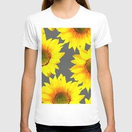 Large Sunflowers On Dark Grey Background #decor #society6 #buyart T-shirt