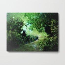 Magical Garden Path Green Metal Print