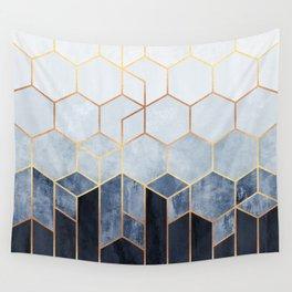 Soft Blue Hexagons Wandbehang