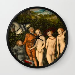 "Lucas Cranach the Elder ""The Judgement of Paris""(Basel) Wall Clock"