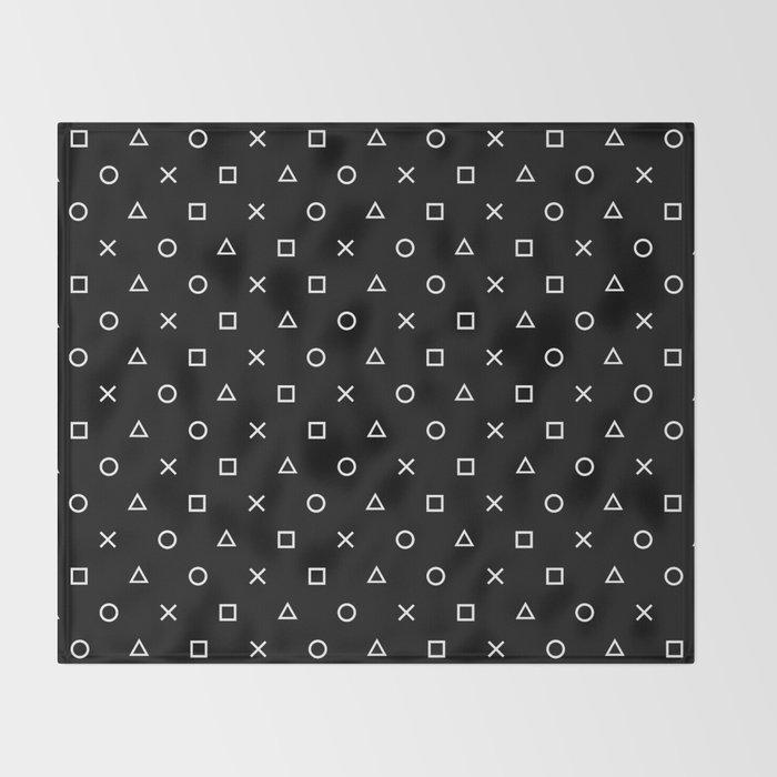 Gamer Pattern (White on Black) Throw Blanket