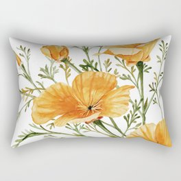 California Poppies - Watercolor Painting Rectangular Pillow