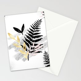 Black Abstract Leafe Stationery Cards