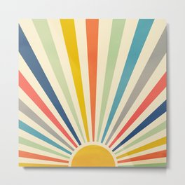 Sun Retro Art III Metal Print