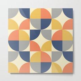 Mid Century Modern Geometric Pattern 445 Blue Yellow Orange Gray and Beige Metal Print