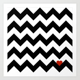 Heart & Chevron - Black/Classic Red Art Print