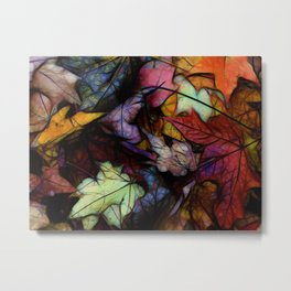 Fall leaves Abstract Metal Print