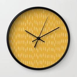 Raindrop Abstract Boho Pattern, Yellow Wall Clock