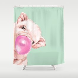 Bubble Gum Sneaky Baby Pig in Green Duschvorhang