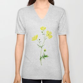 yellow buttercup flower watercolor Unisex V-Neck