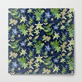 Alpine Flowers Blue - Gentian, Edelweiss Metal Print