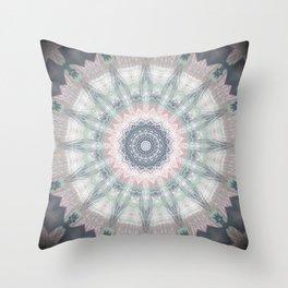 Sage Blue Grey Soft Mandala Throw Pillow