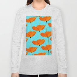 Poppies On A Turquoise Background #decor #society6 #buyart Long Sleeve T-shirt