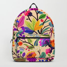 Bright colorful flowers and tropic leaves.  Trendy Folk style. Floral pattern. Backpack