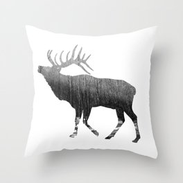 Elk Snowing Forest Throw Pillow