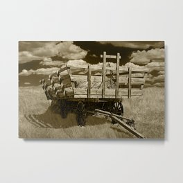 Sepia Toned Old Hay Wagon Farm Equipment in the Grass on the Prairie Metal Print