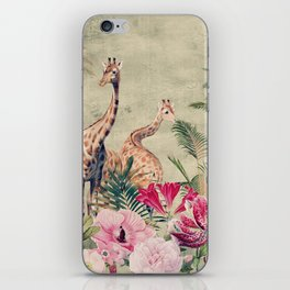 Vintage & Shabby Chic - Tropical Animals And Flower Garden iPhone Skin