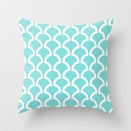 Classic Fan or Scallop Pattern 731 Turquoise Throw Pillow