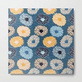 Dahlia Flower Pattern Metal Print