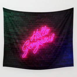 Hello Gorgeous - Neon Sign Wall Tapestry