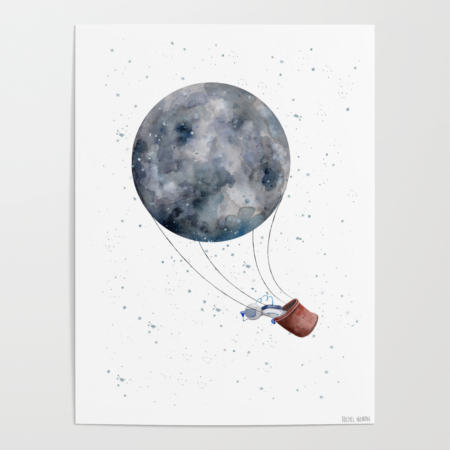 anyone seen the moon lately moon hot air balloon astronaut white background posters