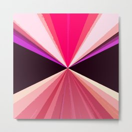 Hot pink black modern triangles pattern Metal Print