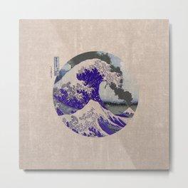 The Great Wave off Kanagawa Eruption Tan Metal Print