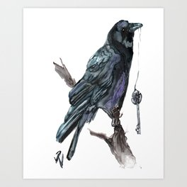 Crow and Key Invitation to the Underworld Art Print