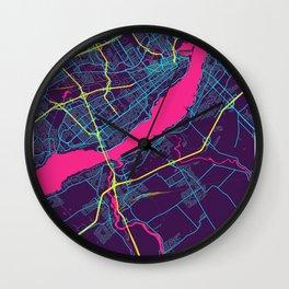 Levis Neon City Map, Levis Minimalist City Map Art Print Wall Clock