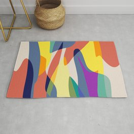 Vibrant abstract shapes overlay Rug