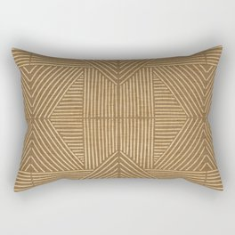 Golden ochre lines - textured abstract geometric Rectangular Pillow