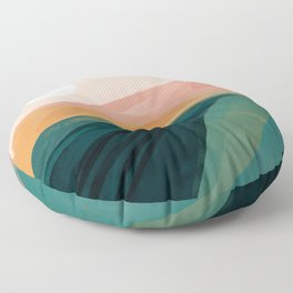 pink, green, gold moon watercolor mountains Floor Pillow
