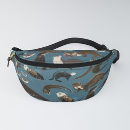 Otters of the World pattern in teal Fanny Pack