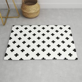 Black and White Swiss Cross Pattern Rug