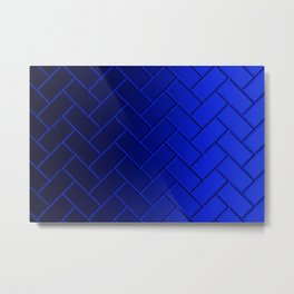 Herringbone Gradient Dark Blue Metal Print