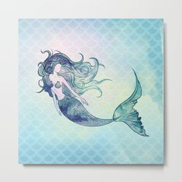 Watercolor Mermaid Metal Print