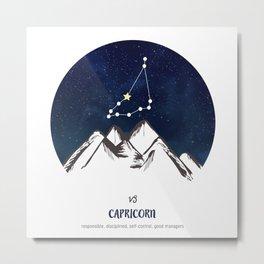 Astrology Capricorn Zodiac Horoscope Constellation Star Sign Watercolor Poster Wall Art Metal Print