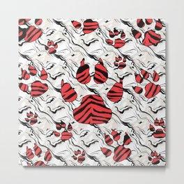 Red Tiger Print Animal Tracks Pattern Design Metal Print