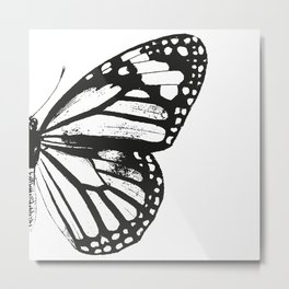 Monarch Butterfly   Right Butterfly Wing   Vintage Butterflies   Black and White   Metal Print