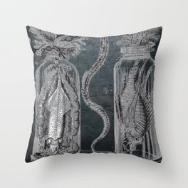 Victorian Zoological Study, Ocean life Specimens - Vintage Art Collage Throw Pillow