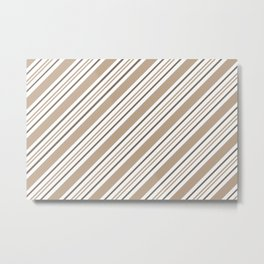 Pantone Hazelnut Nutmeg and White Thick and Thin Angled Lines - Stripes Metal Print