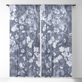 Bohemian Floral Nights in Navy Sheer Curtain