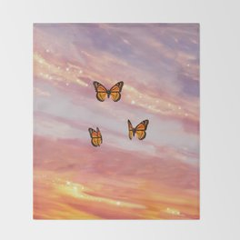 Butterfly Sunset Aesthetic Throw Blanket
