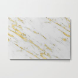 Marble - Shimmery Gold Marble on White Pattern Metal Print