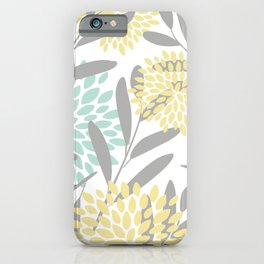 Floral Prints, Leaves and Blooms, Gray, Yellow and Aqua iPhone Case