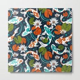 Koi Pond - Orange Metal Print