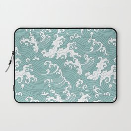 Traditional Hand Drawn Japanese Wave Ink Laptop Sleeve